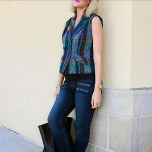 C A b i Womens Multicolored Tweed Two Button Vest